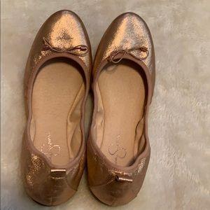 Jessica Simpson rose gold flat